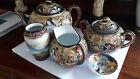 Original handpainted Satsuma 5 pieces Tea and sake Set   Signed  Meiji period