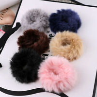 Women Elastic Soft Rabbit Fur Hair Band Ring Rope Scrunchie Ponytail Holder