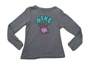 Girls Nike Long Sleeve T-shirt Size Small 7/8 Athletic Cut Mint Condition
