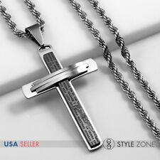 MEN Stainless Steel Bible Scriptures Jesus Black Cross Pendant Rope Necklace 2A