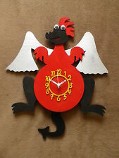 RED DRAGON WOODEN CHILDRENS / KITCHEN WALL CLOCK WITH PENDULUM.NEW & BOXED.WOOD