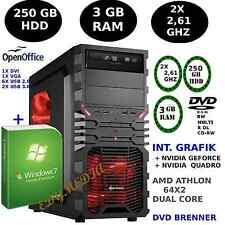 Komplett PC:AMD Athlon 64X2 Dual Core 2x 2,61GHz 3GB 250GB Windows 7 DVD-BRENNER