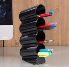 Wave Vertical Pen Pencil Case Holder Desktop Tower Organiser Desk Styler - Black