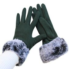 Gloves Woman Puño Hair Green Ladies Teddy Stuffed Lined Winter Quality