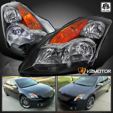 Fits 2007-2009 Nissan Altima 4DR Sedan JDM Black Headlights Left+Right