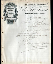 """EVAUX-les-BAINS (23) DROGUERIE VITRERIE PLATRERIE PEINTURE """"Ed. FERRARIS"""" 1907"""