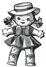 """40s Doll Pattern 2583 Cowboy Cowgirl 10"""" tall Hand Embroidery details Clothing"""