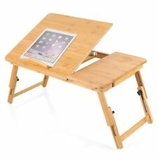 Portable Bamboo Bed Tray Table Height Home Foldable Laptop Desk With Drawer UK
