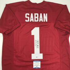 Autographed/Signed NICK SABAN Alabama Red College Football Jersey Beckett COA