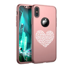 For iPhone X XS Max XR 360° Thin Case Screen Protector Leopard Print Love Heart