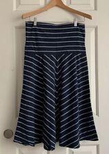Lands'end Women's White / Blue Striped A Line Size M 10-12