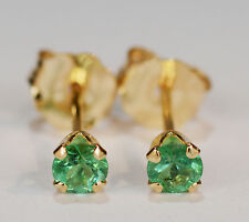 BEENJEWELED GENUINE NATURAL MINED EMERALD EARRINGS~14 KT YELLOW GOLD~3MM