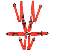 """STR 6-Point 3"""" to 2"""" FHR HANS Race/Rally Harness Seat Belt FIA 2024 - Red"""