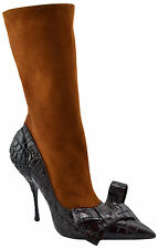 $850 MIU MIU Brown Black Leather VERNICE CROC Knee Boots Heels LIMITED EDITION