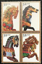 1995 Scott #2976 - 2979, 32¢, CAROUSEL HORSES - Mint NH - Block of 4