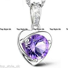 925 Sterling Silver Purple Diamond Necklace Pendant Heart Love Xmas Gift for her