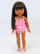 """Pink 2pc Polka Dot Swimsuit Fits Wellie Wishers 14.5"""" American Girl Clothes"""