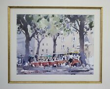 Exquisite original watercolour painting of a European restaurant signed & framed