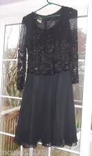ALLURE BLACK DRESS GOWN RHINESTONES BEADS SEQUINS  size M