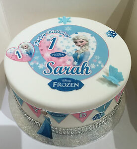 """EDIBLE DISNEY FROZEN ELSA 4.7"""" ICING GIRLS PERSONALISED CAKE TOPPER +49 EXTRA'S"""