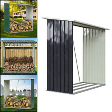 More details for galvanised steel outdoor wooden log store metal garden fire wood store shed pent