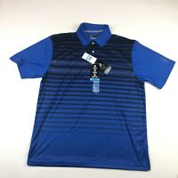 PGA Tour Mens Short Sleeve Blue Striped Polo Size Large NEW