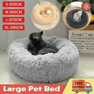 80cm Pet Dog Cat Calming Beds Comfy Shag Warm Fluffy Bed Nest Fur Donut Pad UK