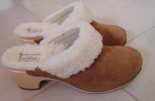 NEW CROCS SARAH LUXE LINED SLIP ON Women SUEDE Hazelnut Fur Clog Size US 8