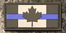 Single LEO Thin Blue Line Canadian Flag PVC Rubber Morale Patch FREE SHIPPING