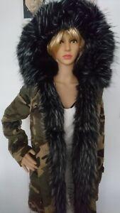 K.ZELL LADIES Camouflage black trim FUR WINTER PARKA JACKET COAT SIZE L 12 40