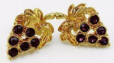 VINTAGE ESTATE SIGNED DESIGNER AVON PURPLE RHINESTONE CLUSTER GRAPE EARRINGS