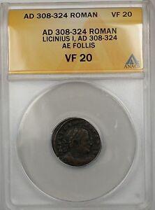 308-324 AD Roman Lincinius I AE Bronze Follis Ancient Coin ANACS VF 20