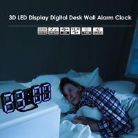 3D Modern Digital LED Table Desk Night USB Wall Clock Alarm 24/12 Hour Display