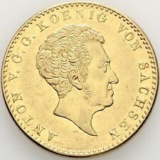 Lanz Saxony King Anton 10 Thaler Gold 1836 Dresden Crown Crest Grohmann rrr@35