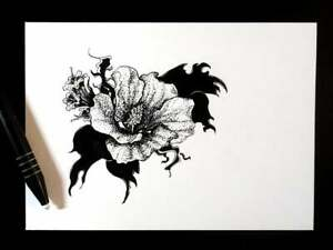 ORIGINAL Blackout, Traditional Ink Drawing, Flower and plants, black and white