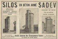 W5580 Silos en béton armé SADEV - Pubblicità 1929 - Advertising