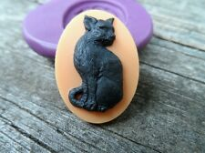 Halloween Cat  cameo silicone push mold mould polymer clay resin food sugar  USA