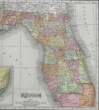 1911 McNally Map Florida Miami Orlando Tampa Jacksonville Tallahassee Pensacola