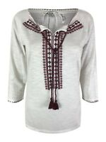 Ex Fat Face Ladies Ivory Burgundy Casual Tunic Kaftan Festival Top Size 6 - 18