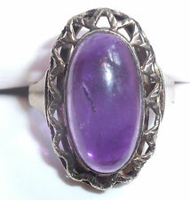 fine antique 8K yellow gold amethyst ring size 8