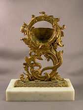 Antique Victorian Brass Pocket Watch Holder w/ Snake & Bird Motif Marble Base