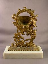 Antique Victorian Brass Pocket Watch Holder w/ Snake & Bird Motif Marble Base