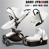 2 Type Stroller Leather Two-way Shock Absorbers Pushchairs 3 in 1 Baby Pram