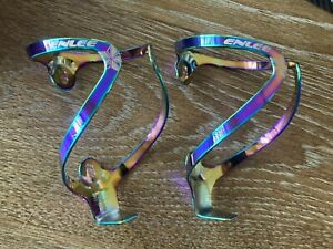 Enlee oil slick rainbow anodized alloy water bottle cages pair road bike supacaz