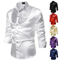 Men Formal Satin Shiny Silk Wedding Dress Shirt Fashion Slim Long Sleeve T-shirt