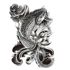 Koi Fish Tattoo Large Temporary Tattoo - Fish tattoo - Black tattoo Arm tattoo