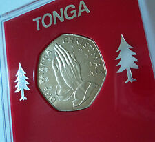 1982 Tonga uno paanga Natale Pregando Mani medaglia (BU) regalo da collezione in caso