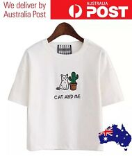 CAT & CACTUS T-SHIRT - CAT AND ME - TUMBLR CUTE KITTEN - (WHITE) - FREE POSTAGE