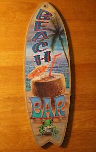 BEACH BAR SURFBOARD SIGN Palm Tree Cantina Tiki Coconut Umbrella Drink Decor NEW