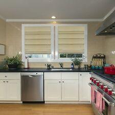 "NEW Energy Efficient Tan Fabric Roman Shades- Bedroom, Kitchen, 72"" L"